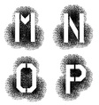 stencil angular spray font letters M N O P vector image vector image