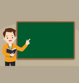 teacher standing in front of chalkboard vector image