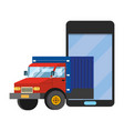 truck with cellphone vector image