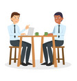 two business guy talking and discuss vector image vector image