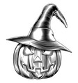 vintage halloween witch pumpkin vector image