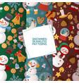 winter holidays snowman set seamless patterns vector image vector image
