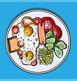 english breakfast on a plate vector image
