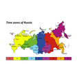 Russia map with time zones vector image