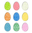 set of hand drawn easter eggs vector image