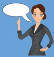 woman in business suit with speech bubble vector image