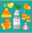 influenza and cold themed design elements in vector image