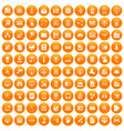 100 database icons set orange vector image vector image