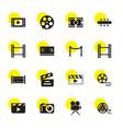 16 cinema icons vector image vector image