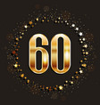 60 years anniversary gold banner vector image