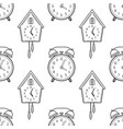 alarm clock and cuckoo clock black and white vector image vector image