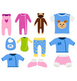 baby clothes icon set design textile casual vector image vector image
