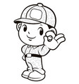 black and white soldier mascot ok gesture vector image