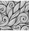 Black doodle hair waves seamless pattern vector image