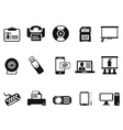 black office technology icons set vector image vector image