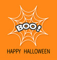 boo text spider round web cobweb white decoration vector image vector image