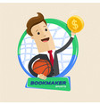 bookmaker man with ball basketball rim and money vector image