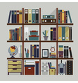 Bookshelf with various objects and accessories vector image