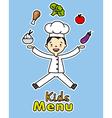 boy chef with healthy food vector image vector image