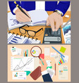business charts office reports and counting man vector image vector image
