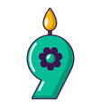candle numeral icon cartoon style vector image vector image