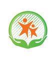 child care center logo design hands holding kids vector image