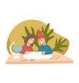 children studying in pair at geography lesson vector image