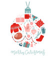 christmas and new year holiday flat icons set vector image