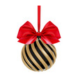 christmas ball in black and gold color with red vector image vector image