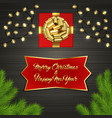christmas tree gift box bow garland label vector image