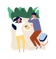 couple on picnic outdoor activity relaxing and vector image vector image