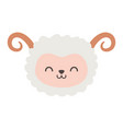 cute sheep head character on white background vector image vector image