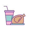delicious chicken with soda vector image