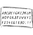 Hand drawn sketched alphabet with numbers Black vector image