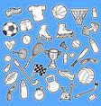 hand drawn sport doodle set vector image vector image