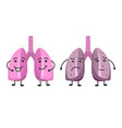 healthy and ill lungs isolated icons organs with vector image
