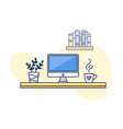 home workplace cute line art vector image