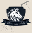 horse head with shield logo design vector image vector image