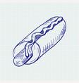 hot dog hand drawn sketch vector image vector image