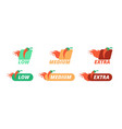 hot pepper labels pepperiness low medium and vector image vector image