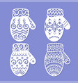 laser cutting template mittens vector image vector image