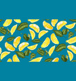 lemon seamless pattern with slices and leaves vector image