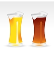 Light and dark beer in a tall glass vector image