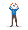 man holding clock covering face vector image
