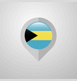 map navigation pointer with bahamas flag design vector image