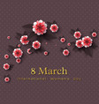 march 8 greeting card vector image vector image