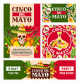 mexican cinco de mayo holiday posters vector image vector image
