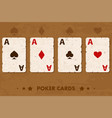old four poker playing cards vector image vector image