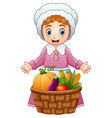 pilgrim woman with fruits a vector image vector image