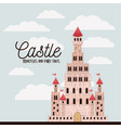 poster of pink castle princesses and fairy tales vector image